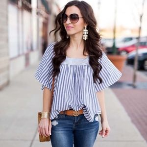 Madewell Butterfly Top striped play white blue XS